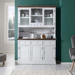 Buffet Cookie - Weiß/Kieferfarben, Glas/Holz (132/191/40,5cm) - Premium Living