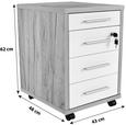 Predalnih Na Kolescih Profi - hrast/bela, Moderno, leseni material (43/62/48cm) - Mömax modern living