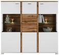 Highboard Weiß/Eichefarben - Chromfarben/Eichefarben, MODERN, Holzwerkstoff/Metall (143/131/37cm) - Modern Living