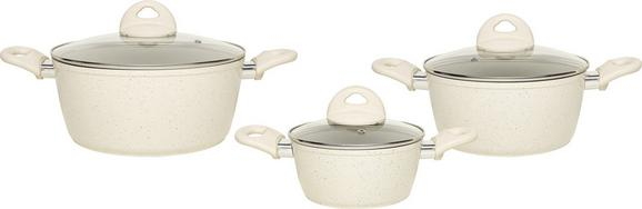 Kochtopfset Marmor 6-teilig in Creme - Creme, KONVENTIONELL, Glas/Metall - Premium Living