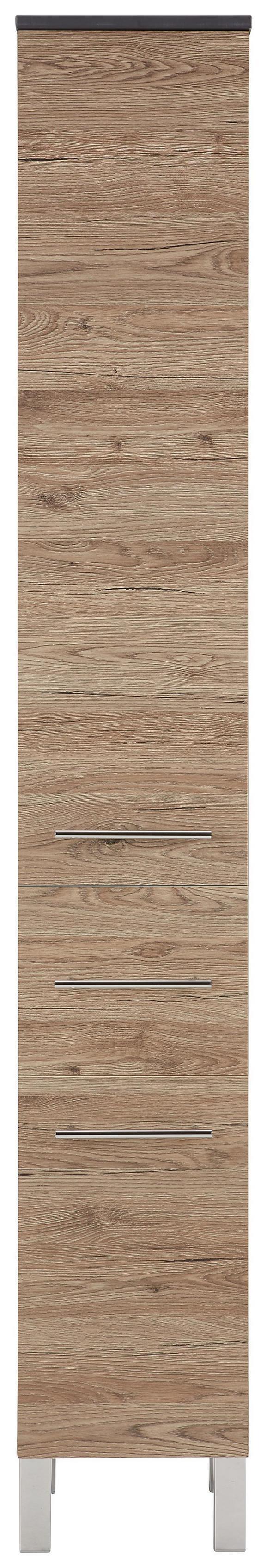 Hochschrank Eiche/Anthrazit - Chromfarben/Eichefarben, MODERN, Holzwerkstoff/Metall (30/187/31cm)