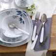 Besteckset Clara in Weiß, 24-teilig - Edelstahlfarben/Weiß, ROMANTIK / LANDHAUS, Kunststoff/Metall - Mömax modern living