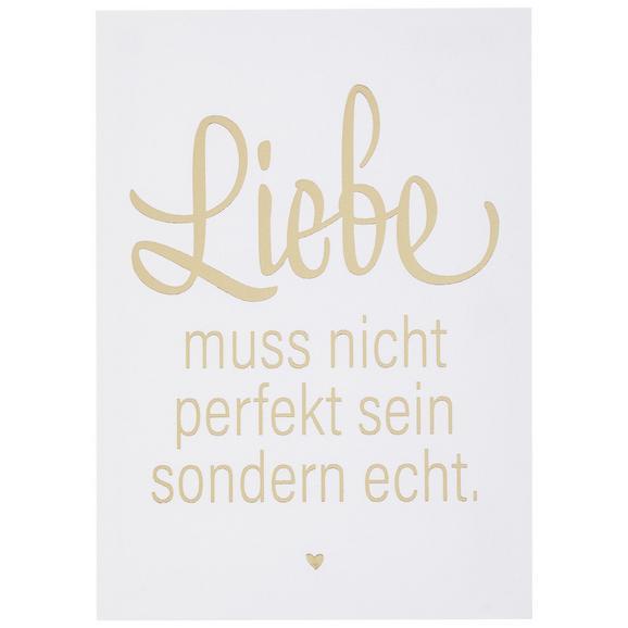 Postkarte Liebe muss nicht - Goldfarben/Weiß, MODERN, Papier (10,5/14,8cm)