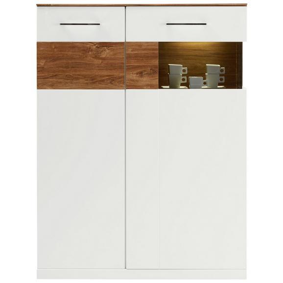 Félmagas Szekrény Weiß/akaziefarben - Akácfa/Fehér, modern, Faalapú anyag (104/137/40cm) - Premium Living