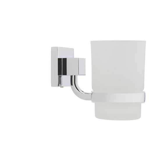 Üveg Tartóval Mare   -sb- - fehér, üveg/fém (7/11/10cm)