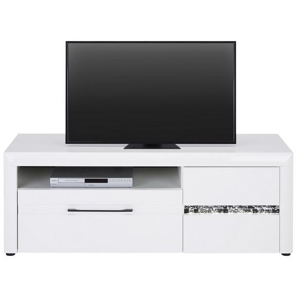 TV-Element in Weiß Hochglanz - Schwarz/Weiß, LIFESTYLE, Holzwerkstoff/Kunststoff (150.0/55.0/46.6cm) - Modern Living
