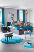 Mizica Maleta - modra/črna, Romantika, kovina/leseni material (44/40/30cm) - Premium Living