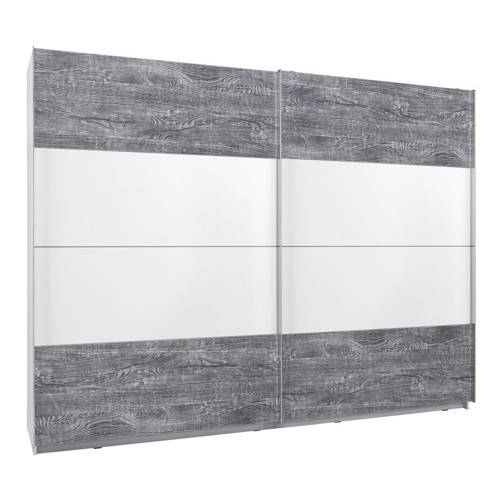 Schwebetürenschrank Weiß/beton