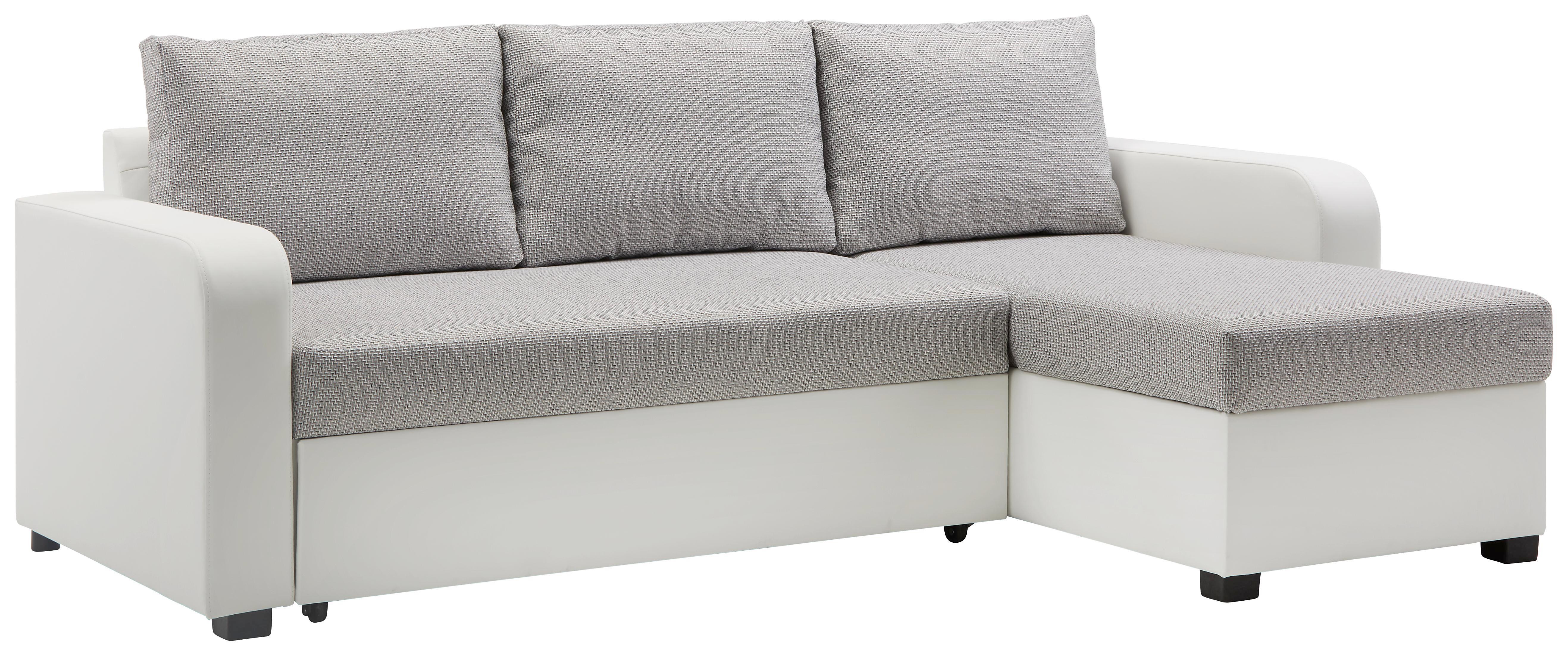 Wohnlandschaft Grau mit Bettfunktion - Schwarz/Weiß, KONVENTIONELL, Kunststoff/Textil (225/71-83/152cm) - MODERN LIVING