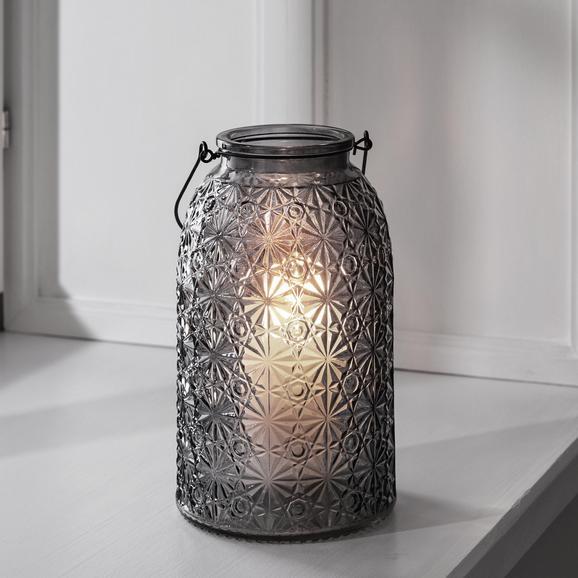Windlicht Finja Ø/h ca. 14,3/24 cm - Dunkelgrau, MODERN, Glas (14,3/24cm) - Mömax modern living