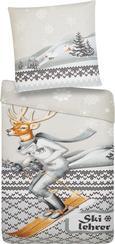 Bettwäsche Skilehrer - Baumwollsatin 135x200/80x80cm - Multicolor, KONVENTIONELL, Textil (135/200cm) - Mömax modern living
