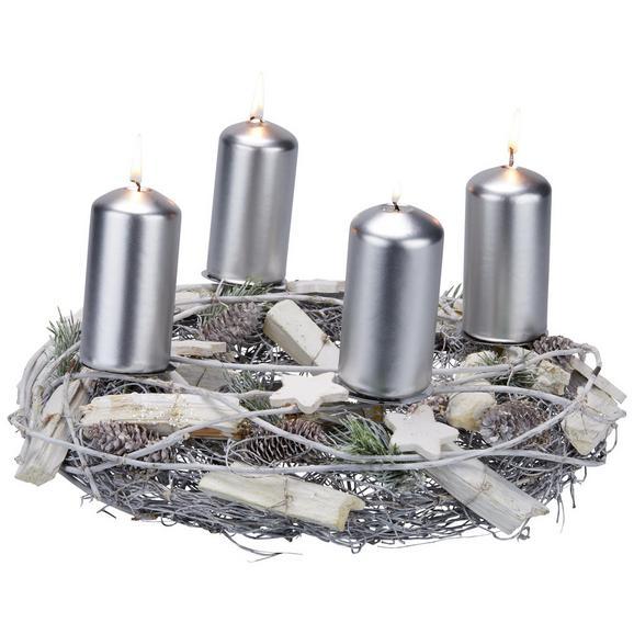 Svečnik Sarah - naravna/siva, kovina/leseni material (32/10cm)