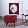 Hocker aus Samt - Rot/Goldfarben, LIFESTYLE, Textil/Metall (37/40/37cm) - Modern Living