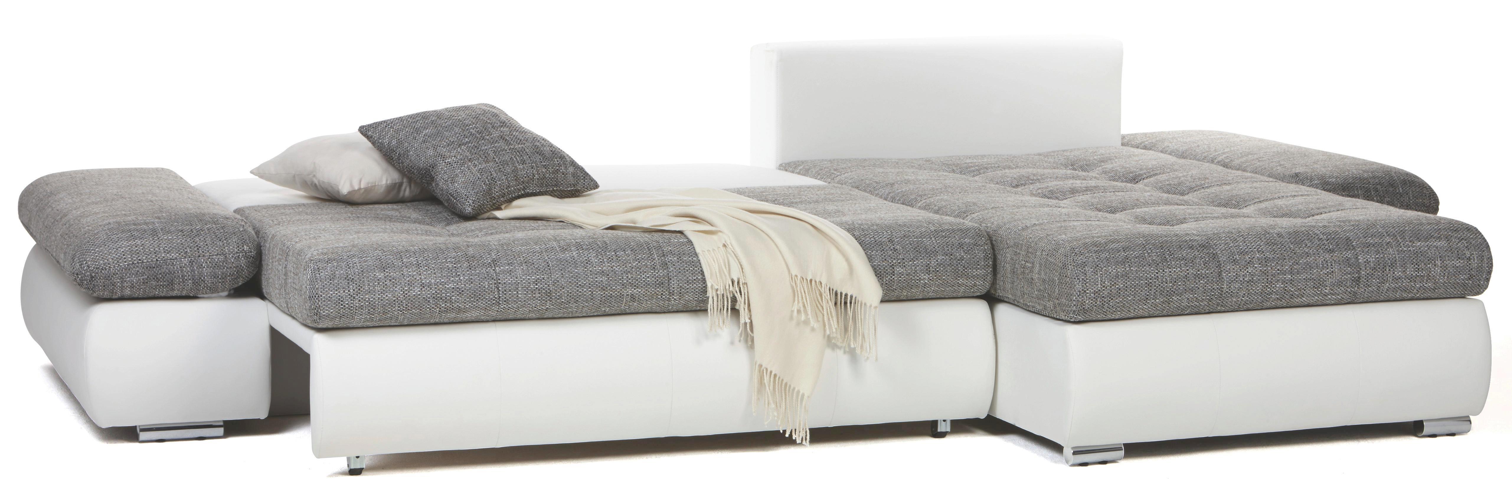 Sarokgarnitúra Enrico - fekete/fehér, modern, textil (303/185cm)