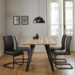 Esstisch in Eichefarben ca. 160x90cm 'Gino' - Eichefarben/Schwarz, MODERN, Holz/Metall (160/90/76cm) - Bessagi Home
