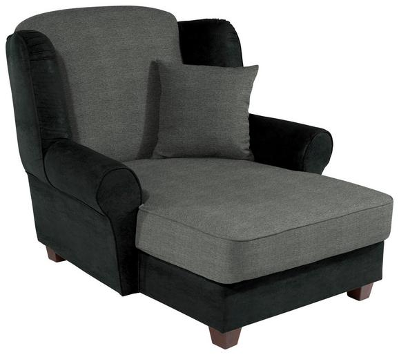 Fotelja Living - siva/antracit, Romantik / Landhaus, drvo/tekstil (120/98/138cm)