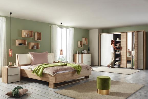 Bett Weiß/Eichefarben 180x200cm - Eichefarben/Weiß, KONVENTIONELL, Holzwerkstoff/Kunststoff (186/95,5/220,8cm) - Premium Living