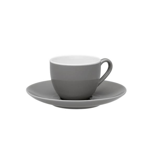 Espressotasse mit Untertasse Sandy in Grau mit Keramik - Grau, KONVENTIONELL, Keramik (6,4/5cm) - MÖMAX modern living