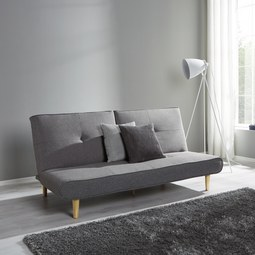 Sofa mit Schlaffunktion in Grau 'Katja' - Grau, MODERN, Holz/Textil (183/85/94cm) - Bessagi Home