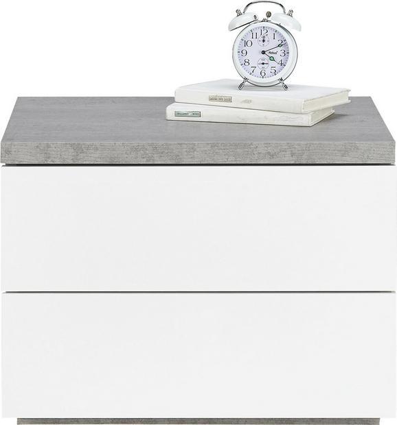 Nachtkästchen in Weiß/Grau - Weiß/Grau, Holzwerkstoff (55/41/44cm) - MODERN LIVING