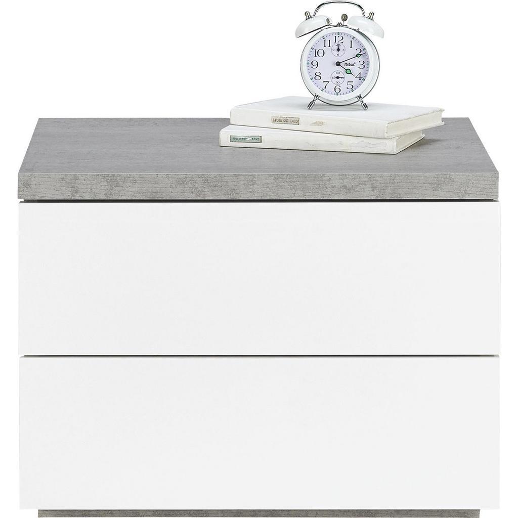 Nachtkästchen Weiß/Grau | Dekoration > Aufbewahrung und Ordnung > Kästchen | Grau -  weiß | Holznachbildung - Hochglanz | Modern Living