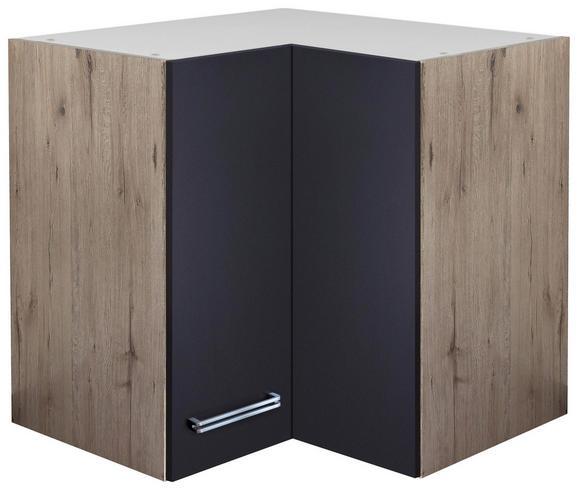 Kotna Zgornja Omarica Milano - hrast/nerjaveče jeklo, Moderno, kovina/leseni material (60/54/60cm)