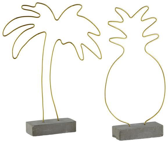 Skulptur Oro Grau/Gold - Goldfarben/Grau, Metall (20/4/27cm)