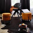 Hocker in Orange Ø ca. 35cm - Schwarz/Orange, MODERN, Textil/Metall (35/40cm) - Modern Living