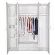 Kombischrank in Weiß - Silberfarben/Weiß, KONVENTIONELL, Glas/Holzwerkstoff (180/210/58cm) - Premium Living
