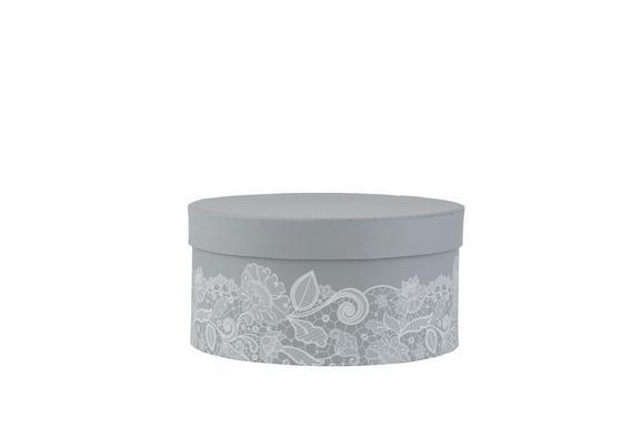 Geschenkbox Lilette in Grau/Weiß - Weiß/Grau, ROMANTIK / LANDHAUS, Karton (18,5/9cm) - MÖMAX modern living