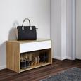 Schuhregal Basic 2 mit Schublade - Eichefarben/Weiß, MODERN, Holz (75/48/38cm) - Modern Living