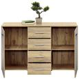 Comodă Uno - culoare lemn stejar/gri, Modern, compozit lemnos (140/80/40cm)