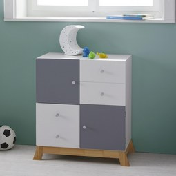 Kinderkommode Brian - Hellgrau/Weiß, MODERN, Holz/Holzwerkstoff (60/70/34cm) - Mömax modern living