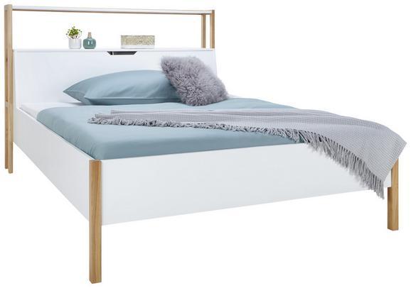 Bett Weiß/Eiche 160x200cm - Eichefarben/Weiß, Holz/Holzwerkstoff (160/200cm) - ZANDIARA