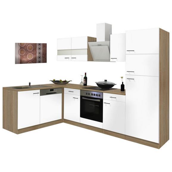 Eckküche ECONOMY L 280 - Eichefarben/Weiß, Basics, Glas/Holzwerkstoff (172/280cm) - Livetastic