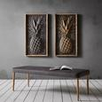 Bild Pineapple Silber ca.59,6x109,5x6cm - Silberfarben/Braun, MODERN, Holz/Metall (59,6/109,5/6cm) - Bessagi Home