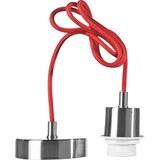 Schnurpendel Ancona, max. 60 Watt - Rot/Nickelfarben, Kunststoff/Metall (120cm) - Mömax modern living