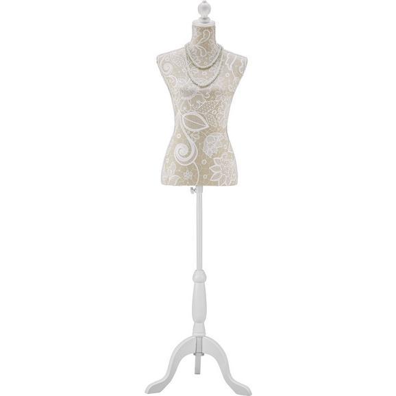 Dekobüste Mannequin in Weiß - Beige/Weiß, ROMANTIK / LANDHAUS, Holzwerkstoff/Textil (35/170/21cm) - Mömax modern living