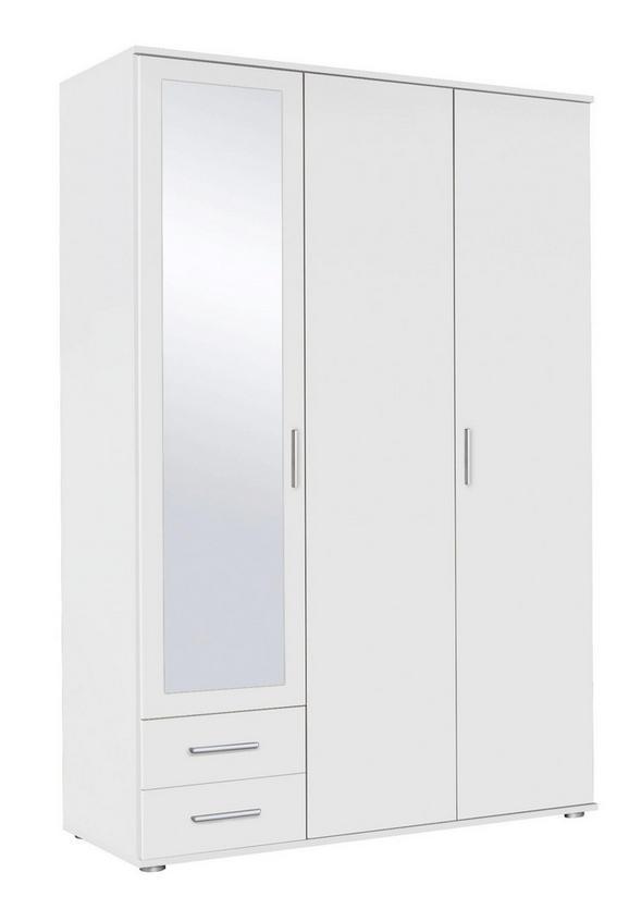 Drehtürenschrank Alpinweiß/Spiegel - Alufarben/Weiß, MODERN, Holzwerkstoff/Kunststoff (127/188/52cm) - Modern Living