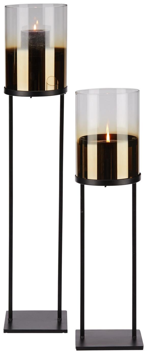 Svečnik Theo - črna/zlata, kovina/steklo (15/80,50cm) - Mömax modern living