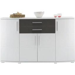 Sideboard in Weiß/Grau Hochglanz - Weiß/Grau, MODERN, Holz/Holzwerkstoff (171/102/50cm) - Modern Living