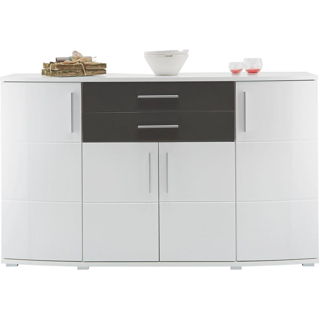 Sideboard Weiß/Grau Hochglanz