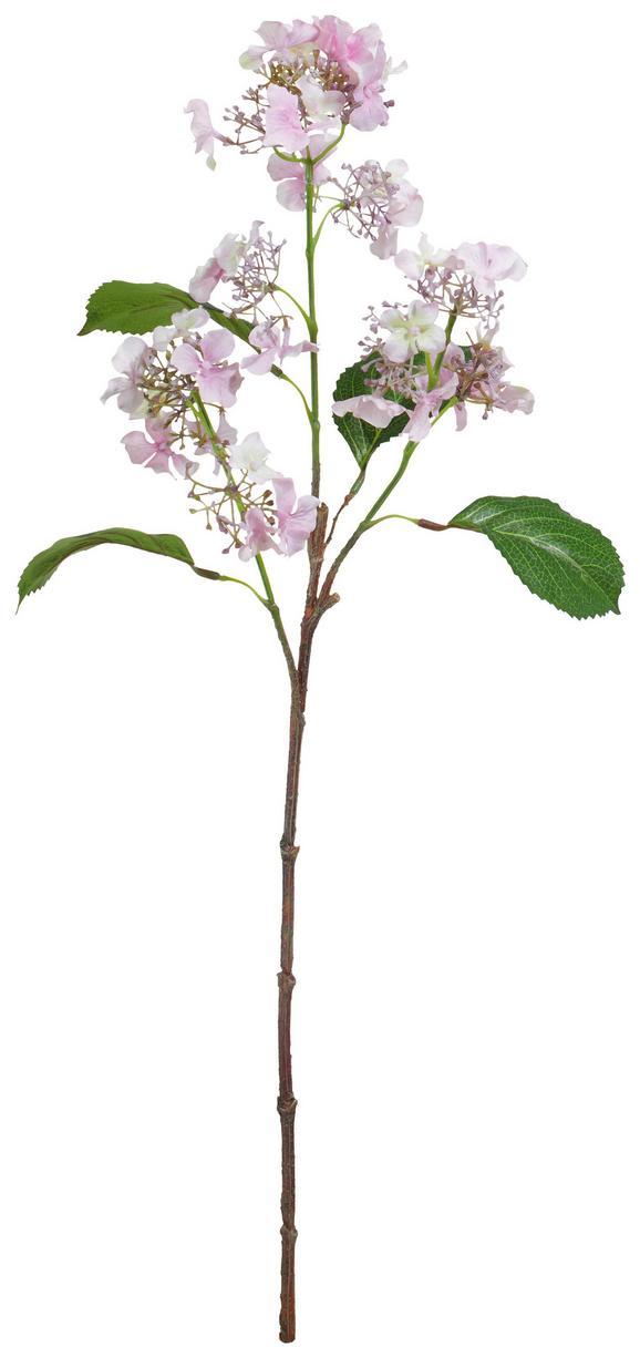 Kunstblume Hortensie Rosa - Rosa/Braun, Basics, Kunststoff (64cm)