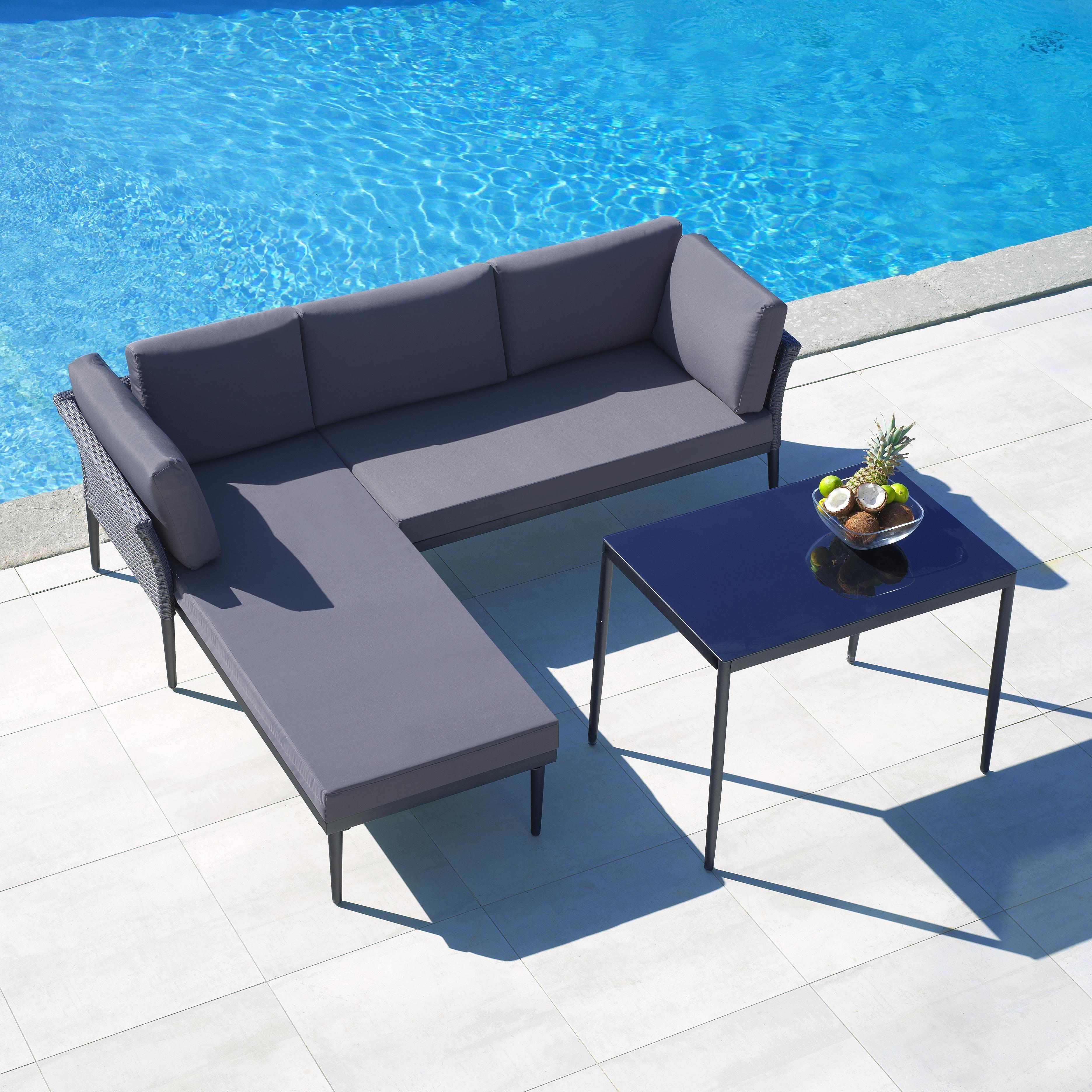 Loungegarnitur Madlen 9-teilig - Dunkelgrau/Grau, MODERN, Glas/Kunststoff (215/175cm) - Modern Living