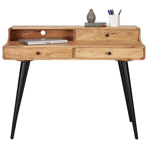 Schreibtisch in Akaziefarben Massiv - Schwarz/Akaziefarben, MODERN, Holz/Metall (115/90/60cm) - Modern Living