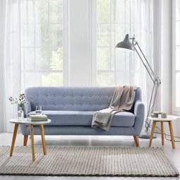Dreisitzer Sofa Xavier mit Taschenfederkern - Blau/Grau, Holz/Textil (176/81/76cm) - MÖMAX modern living