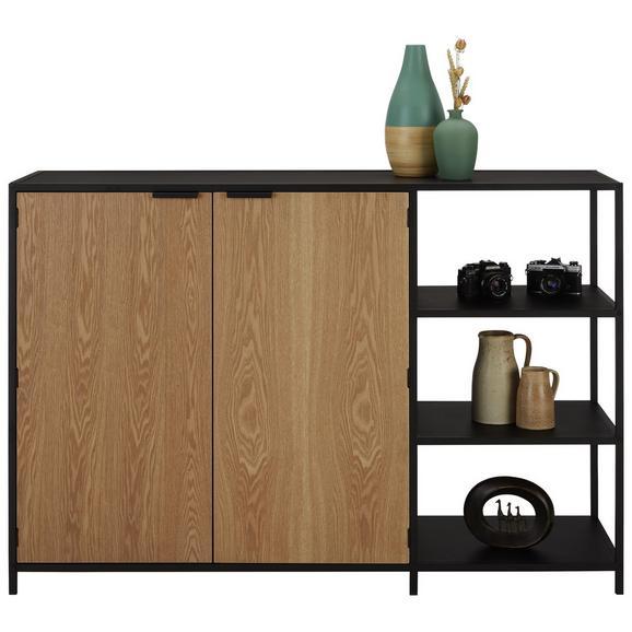 Kommode in Schwarz/Eichefarben - Eichefarben/Schwarz, MODERN, Holzwerkstoff/Metall (140/95,5/40cm) - Modern Living