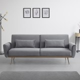Sofa mit Schlaffunktion in Grau mit Holzrahmen 'Guilia' - Goldfarben/Grau, MODERN, Holz/Textil (211/85/83cm) - Bessagi Home