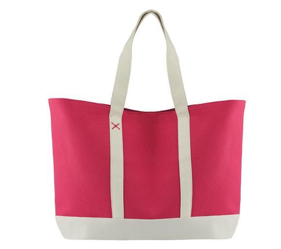 Einkaufstasche Beach in Pink/Weiß - Pink/Weiß, Textil (44/40/57cm) - Mömax modern living