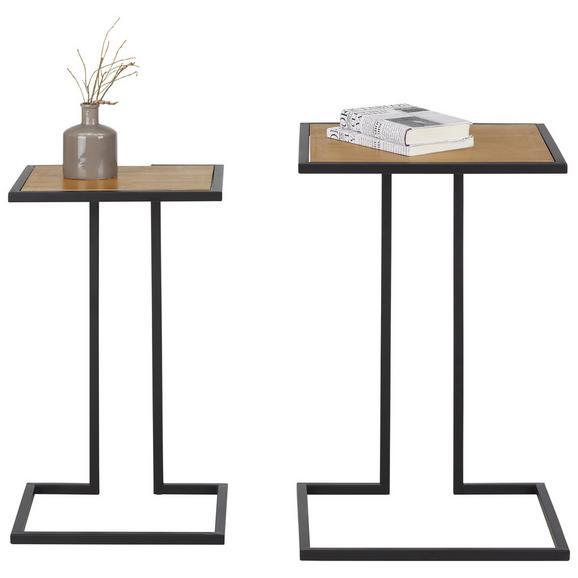 Beistelltischset in Braun/Schwarz, 2-teilig - Schwarz/Braun, LIFESTYLE, Holz/Holzwerkstoff - Modern Living